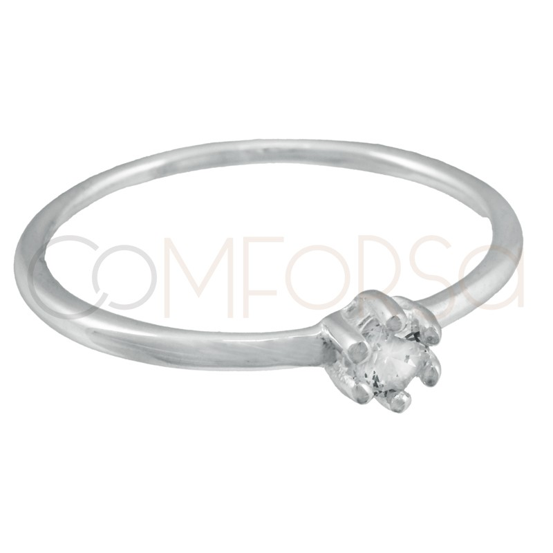 Sterling silver 925 ring with crystal zirconia
