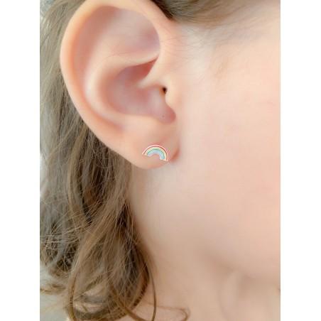 Sterling silver 925 mini rainbow earring 9 x 5mm
