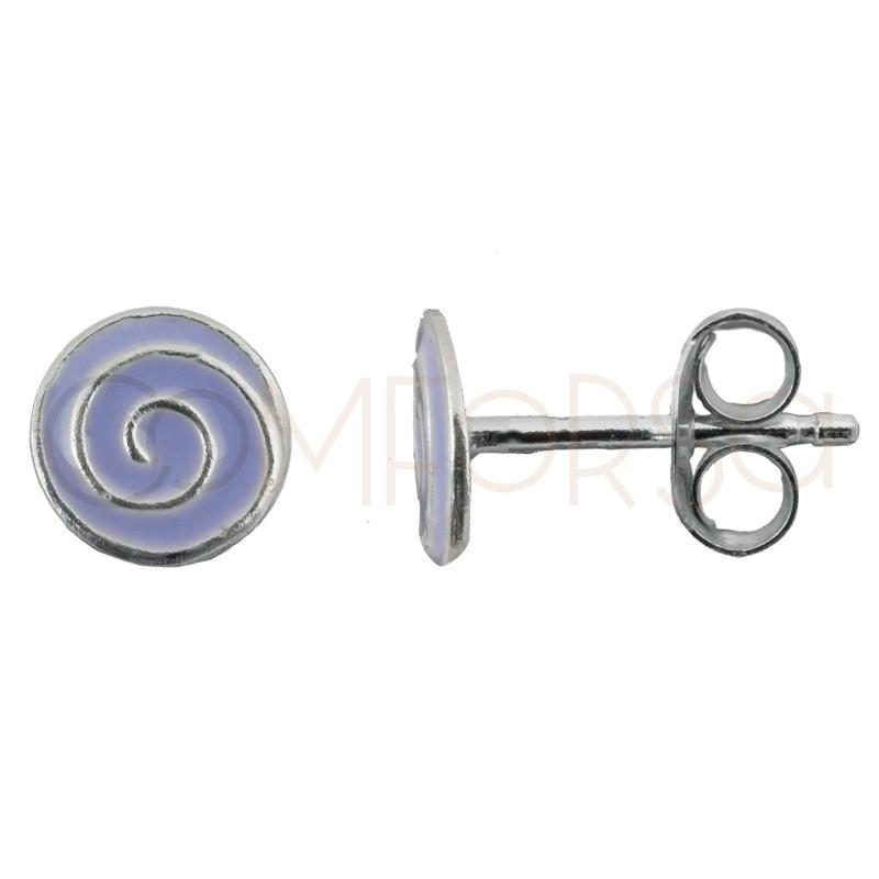 Pendiente mini espiral lila 5.5 x 5.5 mm plata 925