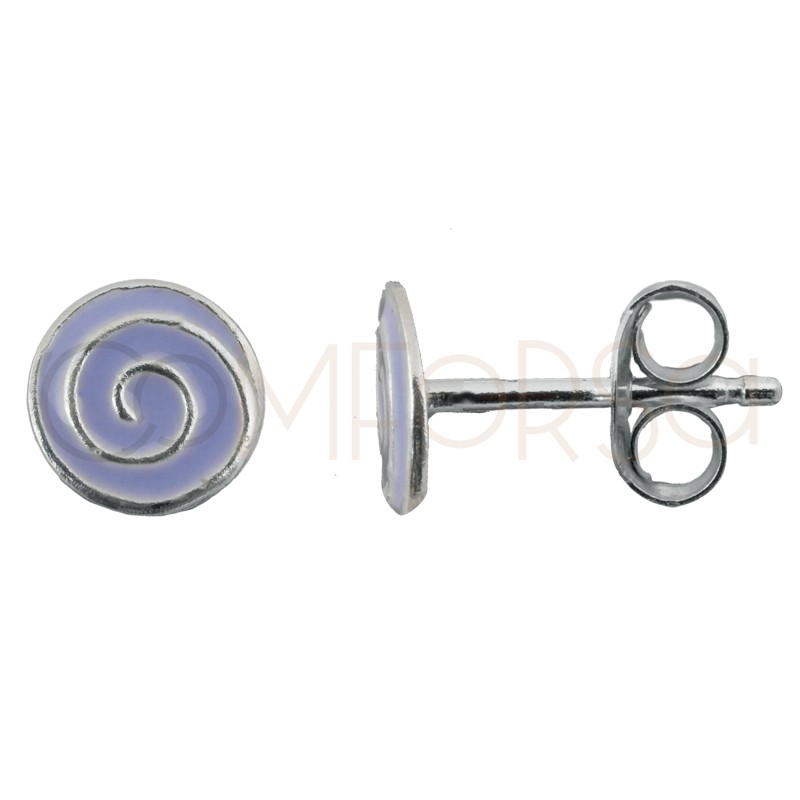 Sterling silver 925 mini lilac spiral earring 5.5 x 5.5mm