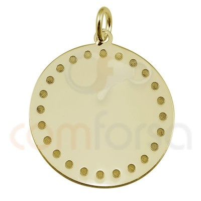 Engraving + Sterling silver 925 gold-plated round pendant with points 20 mm
