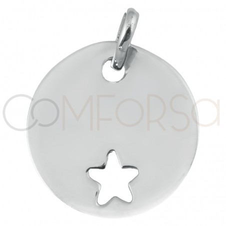 Engraving + Sterling silver 925 pendant with star cutout 15 mm