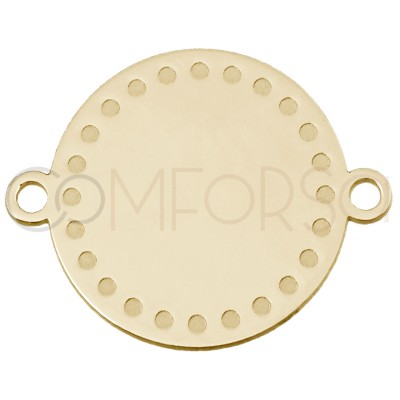 Round connector with points 15 mm in sterling silver gold plated