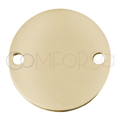 Gold Plated Sterling Silver 925 tag 2 holes 20 mm