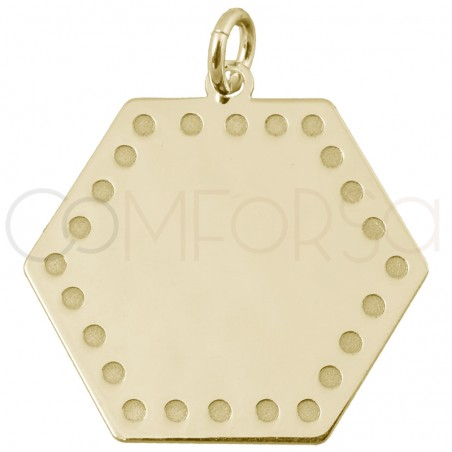 Hexagone pendant with points 15 mm sterling silver rose gold plated