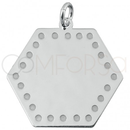 Hexagone pendant with points 15 mm sterling silver gold plated