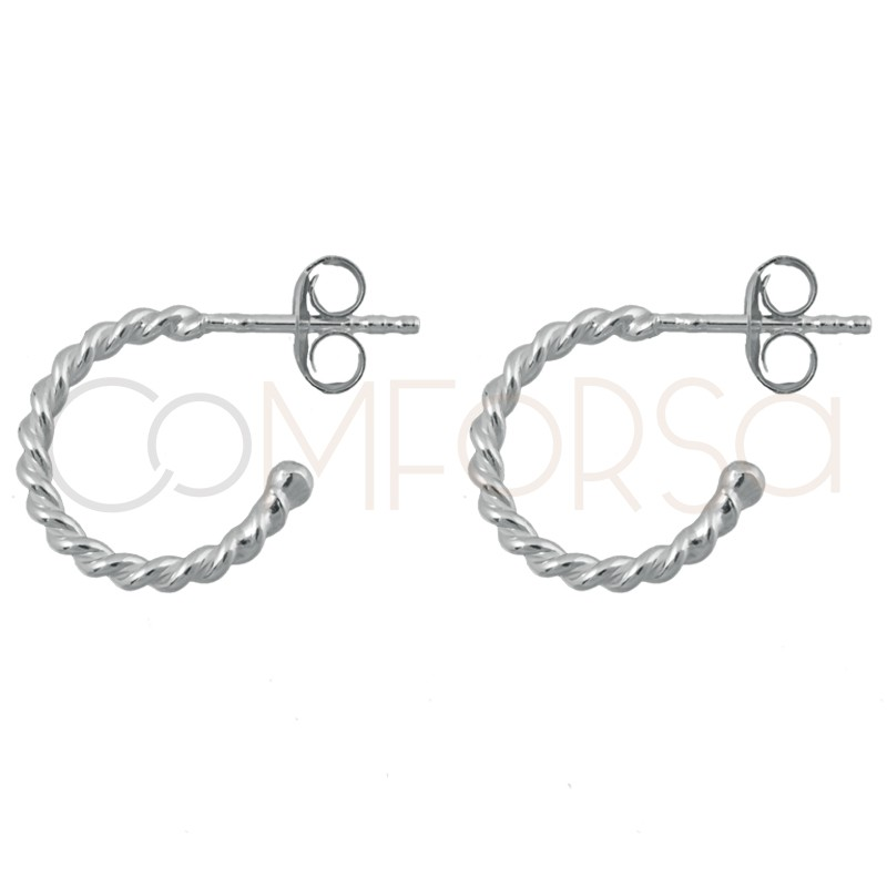 Sterling silver 925 gold-plated twisted wire hoop earrings 12mm
