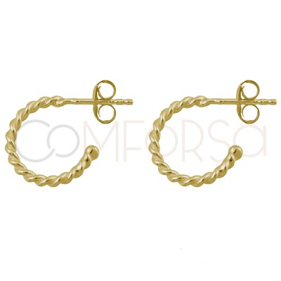 Sterling silver 925 gold-plated twisted wire hoop earrings 15mm