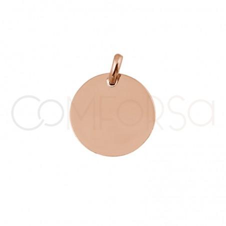 Grabación + Medalla 11 mm con anilla plata chapada rosa