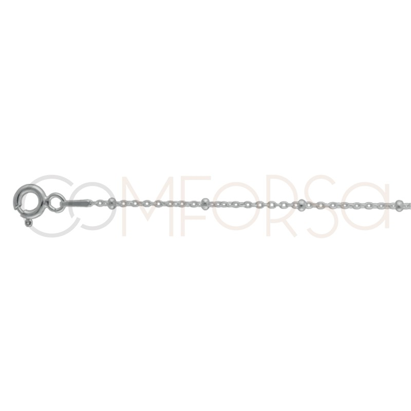 Sterling silver 925 beaded forçat chain 2 x 1.1 mm