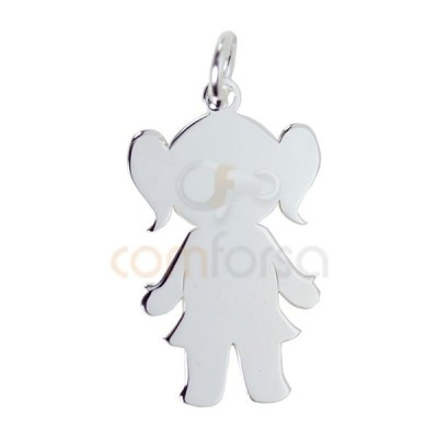 Engraving + Sterling silver 925 girl pendant 12 x 20 mm