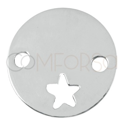 Engraving + Sterling silver 925 cut out star connector 15 mm