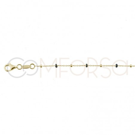Sterling silver 925 chain with silver and black enamel beads 40cm