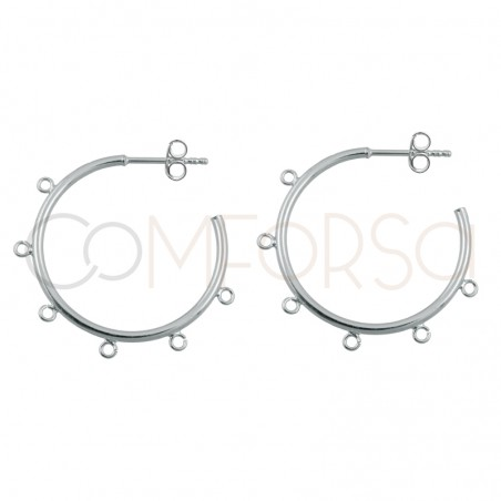 Sterling silver 925 gold-plated hoop earring with jumprings 25mm