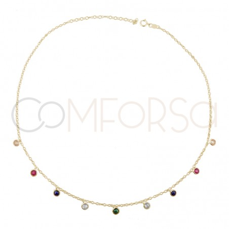 Sterling silver 925 choker with multicolour zirconias 36 cm + 6cm