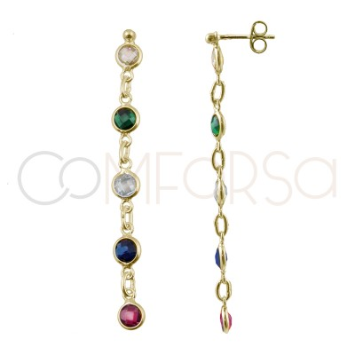 Sterling silver 925 gold-plated earrings with 5 multicolour zirconias 25mm