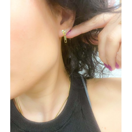 Sterling silver 925 gold-plated zipper earrings 7x18mm