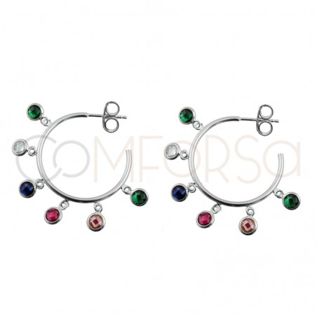 Sterling silver 925 hoops with multicolour zirconias 25mm