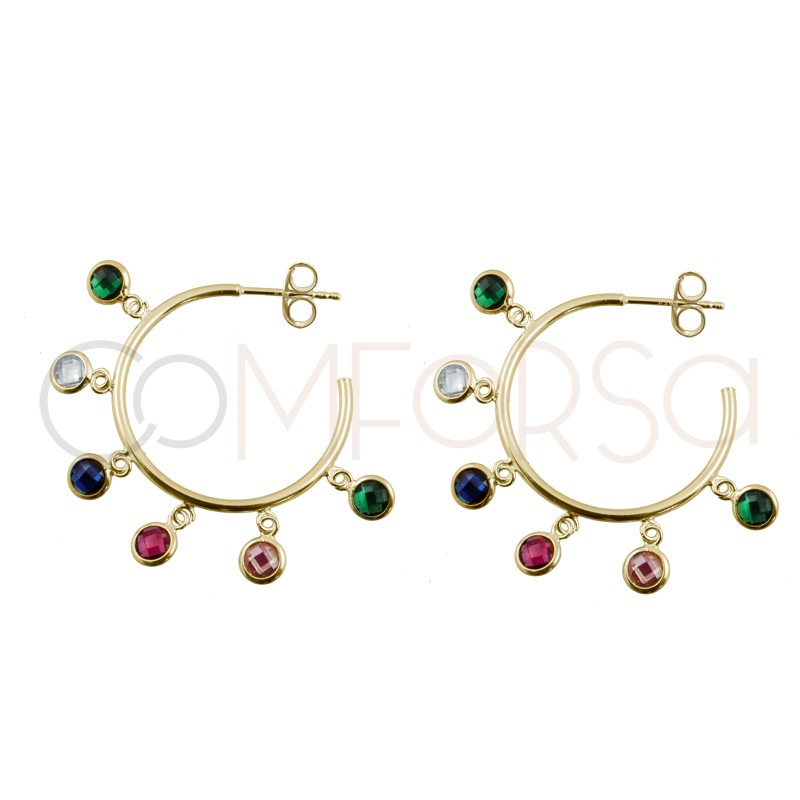Sterling silver 925 gold-plated hoop earring with colorful zirconias 25mm