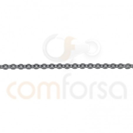 Gold plated sterling silver hammered chain 1.9 x 1.65