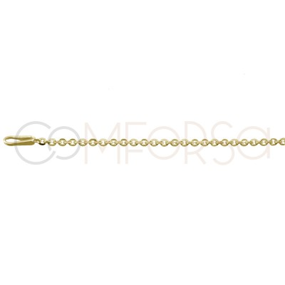 Gold plated Sterling silver 925ml forçat chain 35 cm with 6 cm extender