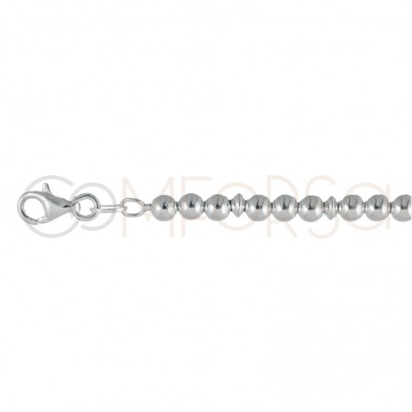 Sterling silver 925 Beaded bracelet with discs 4 mm 18 cm