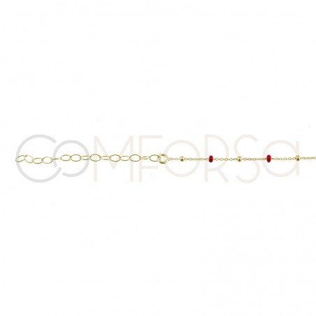 Sterling silver 925 chain with silver and wine red enamelled beads 40cm