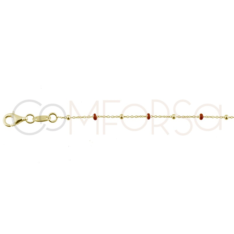 Sterling silver 925 gold-plated chain with wine enamelled balls 40+5cm
