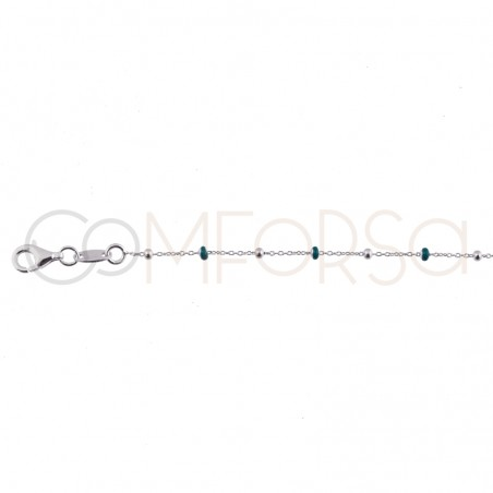 Sterling silver 925 chain with silver and green enamelled beads 40cm