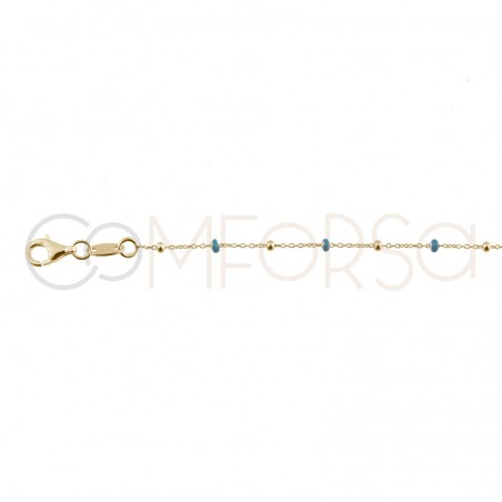 Sterling silver 925 gold-plated chain with blue enamelled balls 40+5cm