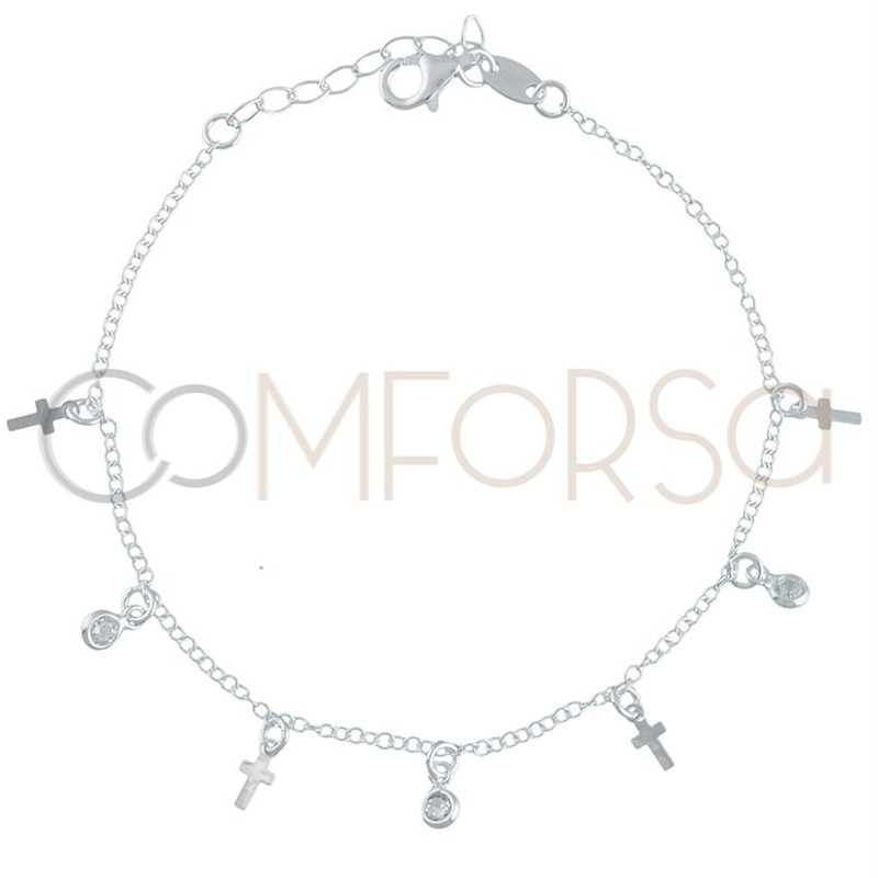 Sterling silver 925 chain with cross pendants and zirconias 40 cm