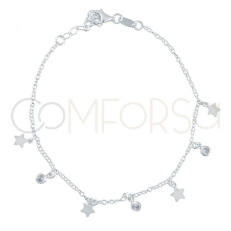 Sterling silver 925 chain with star pendants and zirconias 40 cm