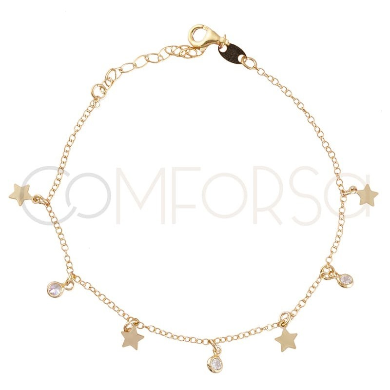 Gold plated silver chaine stars and zircons 40 cm+ 5 mm
