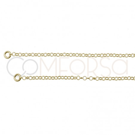 Sterling silver 925 double rolo chain with extender 6cm