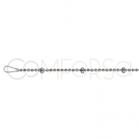 Sterling silver 925 faceted beads chain 1mm