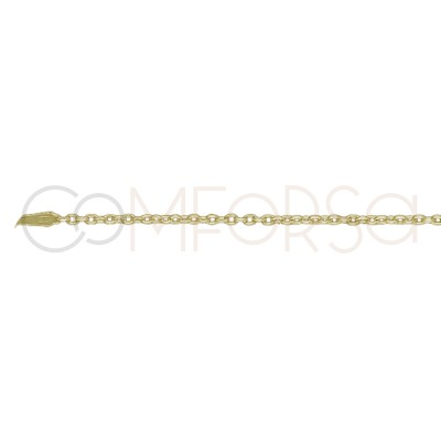 Gold plated Sterling silver forçat chain 1.9 x 1.6 mm