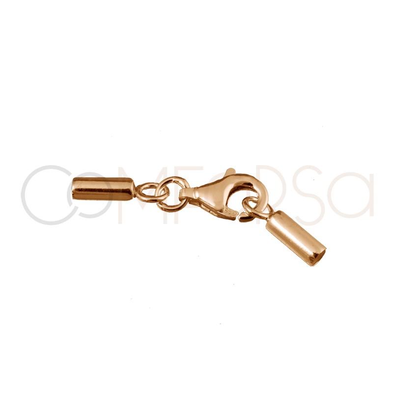 Mosquetón con terminal de tubo redondo 2.1mm ( interior) plata 925 chapado en oro