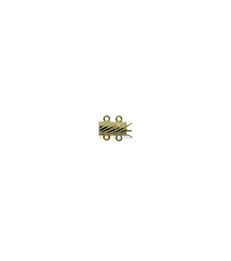 18kt Yellow gold corrugated spacer clasp 2 rings
