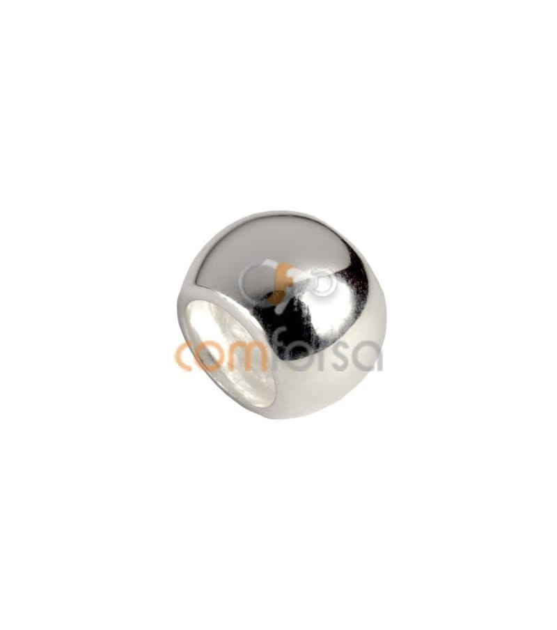 Sterling silver 925 D-shape round bead 7 x 6 mm