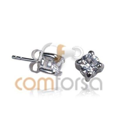 Sterling Silver 925 Round Zircon Ear Post Rhodium 6mm