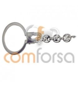 Sterling silver 925 Round Key ring with chain 26 x 73 mm