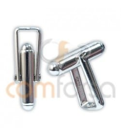 Sterling silver 925 reinforced cufflink 8 x 18 mm