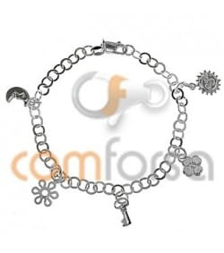 Sterling Silver 925 Bracelet with Pendants 17cm