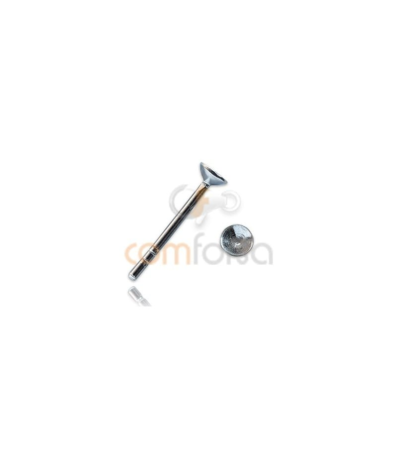 Sterling silver 925 Ear post with cone Cap 3 mm