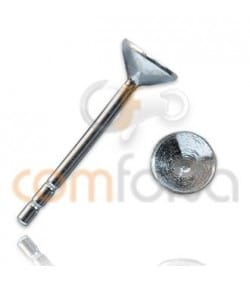 Sterling silver 925 Ear posts with cone Cap 4 mm