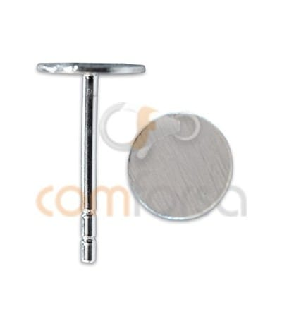 Sterling silver 925 Ear post with flat Cap 6 mm