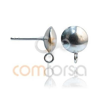 Pendiente liso con anilla 8 mm plata 925ml