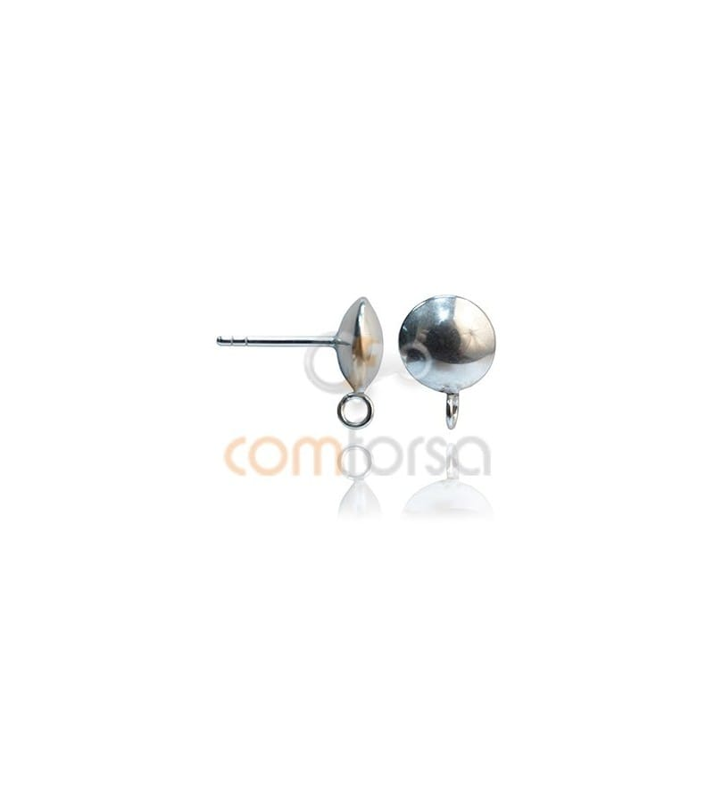 Sterling silver 925 Button Earring with jump ring 8 mm