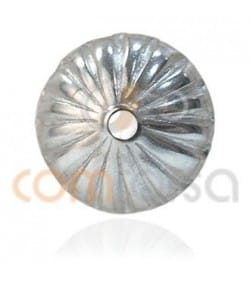 Sterling silver 925 Cap Corrugated 6 mm