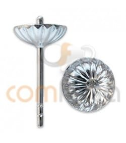 Sterling silver 925 Big corrugated cap and peg 7 mm